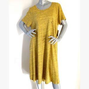 NEW LulaRoe Carly Mustard Yellow Swing Dress